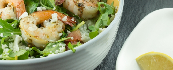 Cauliflower Couscous and Arugula Salad with Shrimp