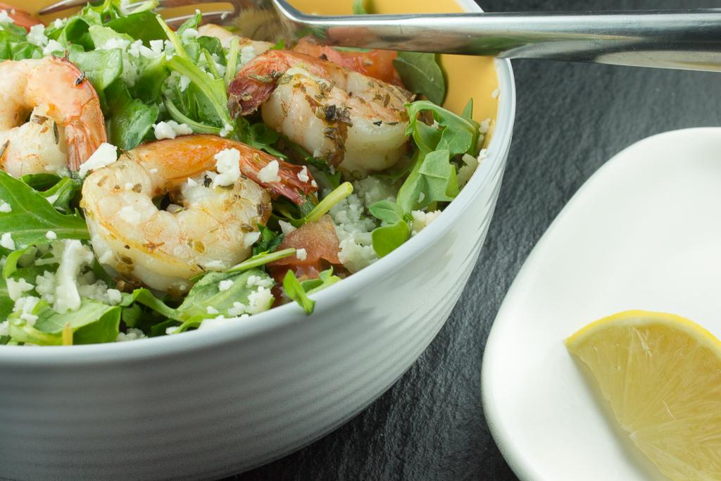 Cauliflower Couscous and Arugula Salad with Shrimp